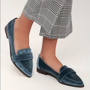 Edie Cloud Blue Velvet Loafers point Sole Society